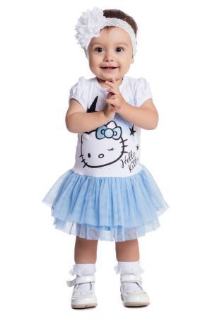 Платье PlayToday. Цвет: белый, голубой