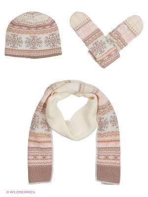 Шапка, шарф, перчатки Vittorio Richi. Цвет: розовый