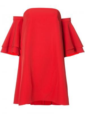 Платье с расклешенными оборчатыми рукавами Milly. Цвет: красный