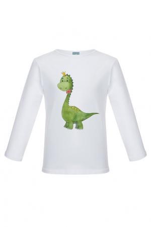 Хлопковый лонгслив «Динозаврик» LISA&LEO. Цвет: белый