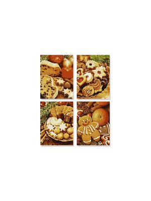 4 картины, Рождественские пряники,18х24 см,  1/6 Schipper. Цвет: коричневый