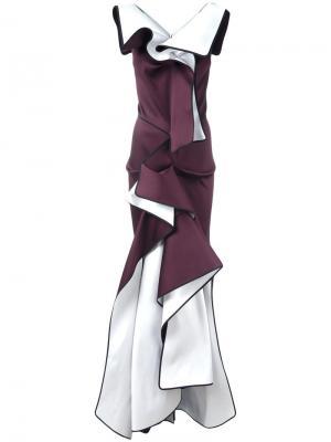 Вечернее асимметричное платье с оборками Maticevski. Цвет: розовый и фиолетовый