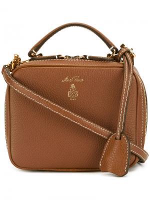 Маленькая сумка на плечо с логотипом Mark Cross. Цвет: коричневый