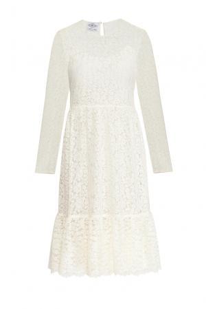Кружевное платье с сорочкой 159382 Y.amelina. Цвет: бежевый