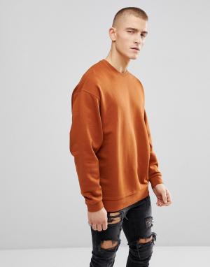 ASOS Темно-оранжевый оверсайз-свитшот. Цвет: оранжевый