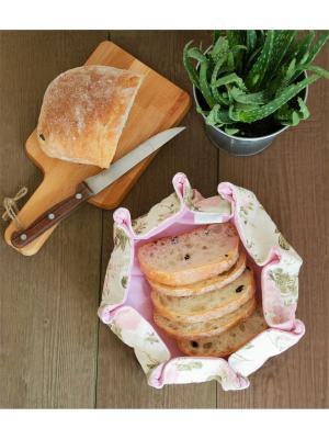 Хлебница, Сюр Мер, розовый, с цветами, лен 100%, 8х25х8 Helgi Home. Цвет: розовый