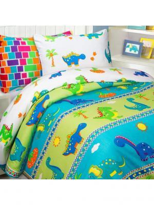 Комплект постельного белья Mona Liza Kids Дино. Цвет: синий, белый, светло-зеленый
