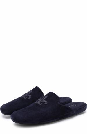 Домашние замшевые туфли с вышивкой Homers At Home. Цвет: темно-синий