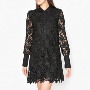 Платье из кружева OILWAY ESSENTIEL ANTWERP. Цвет: черный