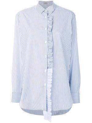 Рубашка в полоску с оборками MRZ. Цвет: синий