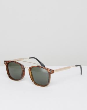Spitfire Черные квадратные солнцезащитные очки с планкой сверху. Цвет: черный