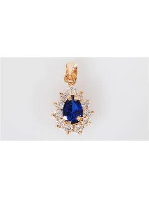 Кулон шпинель капля в цирконах Lotus Jewelry. Цвет: синий