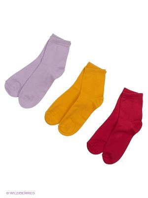 Носки - 3 пары Гамма. Цвет: малиновый, сиреневый