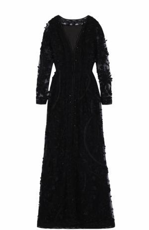 Шелковое платье с декоративной вышивкой и длинным рукавом Oscar de la Renta. Цвет: черный