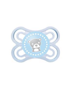 Пустышка силиконовая MAM Perfect  1 шт., 0-6 месяцев. Цвет: голубой