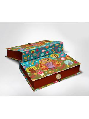 Подарочная шкатулка-коробка СОВУШКИ S Magic Home. Цвет: бирюзовый, светло-коричневый, хаки