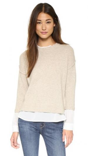Многослойный свитер Looker с округлым вырезом Brochu Walker. Цвет: песочный меланж/аполлон