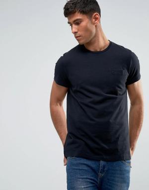 Jack Wills Черная облегающая футболка с карманом Ayleford. Цвет: черный