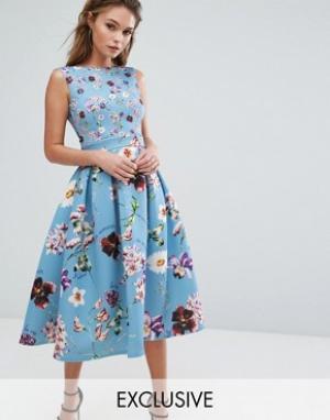 True Violet Платье миди с цветочным принтом и юбкой-клеш Debutante. Цвет: мульти