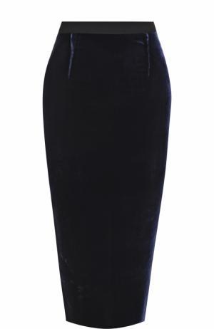 Однотонная юбка-карандаш с широким поясом Roland Mouret. Цвет: синий