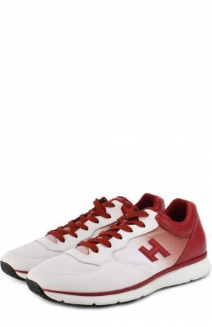 Комбинированные кроссовки с эффектом деграде Hogan. Цвет: красный