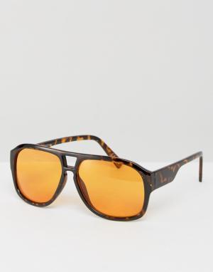 ASOS Солнцезащитные очки-авиаторы в черепаховой оправе с оранжевыми стеклам. Цвет: коричневый