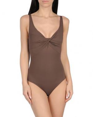 Слитный купальник S AND. Цвет: темно-коричневый