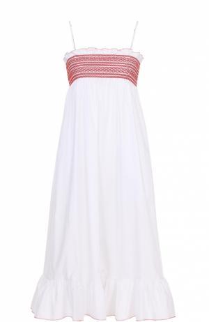 Платье на тонких бретельках с оборкой и завышенной талией Lisa Marie Fernandez. Цвет: белый