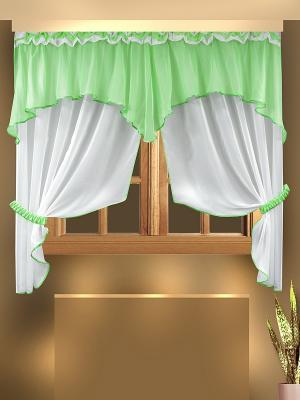 Комплект штор для кухни ZLATA KORUNKA. Цвет: салатовый