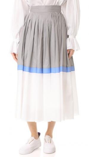 Плиссированная юбка Vika Gazinskaya. Цвет: серый/белый/лавандовый