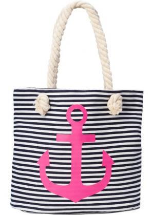 Пляжная сумка-шопер с якорем (темно-синий/ярко-розовый/белый) bonprix. Цвет: темно-синий/ярко-розовый/белый