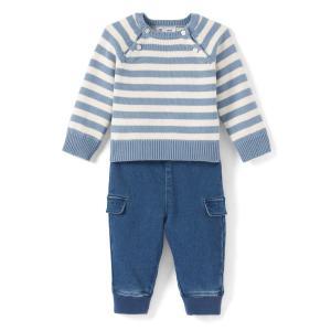 Комплект для малышей, круглый вырез, длинные рукава La Redoute Collections. Цвет: синий/экрю
