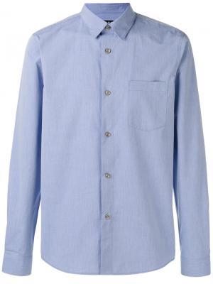 Рубашка с закругленным подолом A.P.C.. Цвет: синий