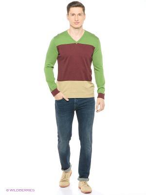 Свитер United Colors of Benetton. Цвет: темно-красный, зеленый