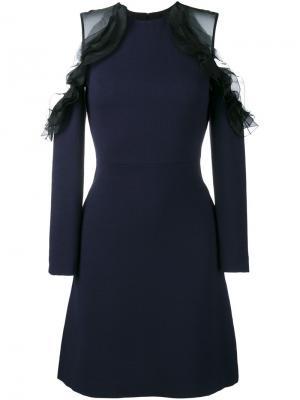 Платье с открытыми плечами и рюшами Huishan Zhang. Цвет: синий