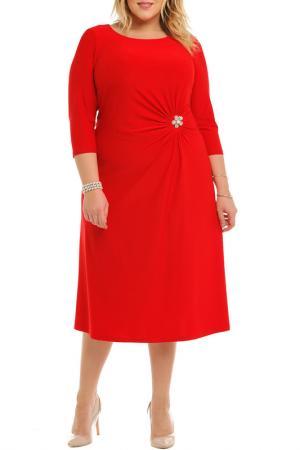 Платье,брошь Svesta. Цвет: красный