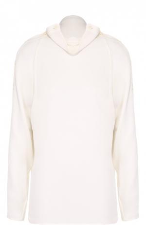 Шелковая блуза прямого кроя с декоративной отделкой Theory. Цвет: белый