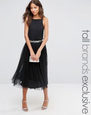Maya Tall Тюлевая юбка миди с пайетками. Цвет: черный