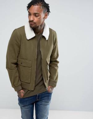 Another Influence Джинсовая куртка на молнии с воротником борг. Цвет: зеленый