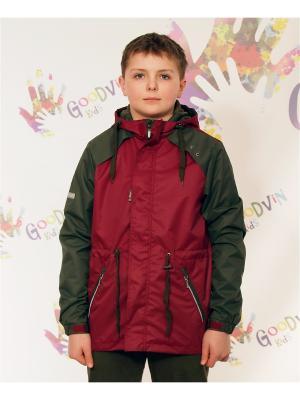 Ветровка для мальчика Лука GooDvinKids. Цвет: темно-бордовый, хаки