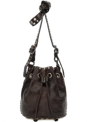 Маленькая сумка-торба через плечо Campomaggi. Цвет: коричневый