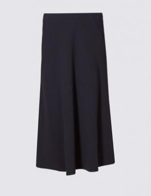 Офисная юбка А-силуэта из крепа Classic. Цвет: темно-синий