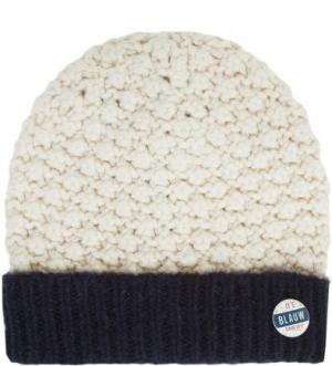 Двухцветная вязаная шапка Maison Scotch. Цвет: молочный