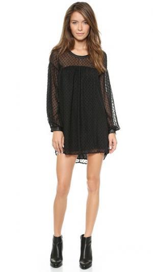 Шифоновое платье в горошек с кожаной отделкой MISA. Цвет: черный горошек