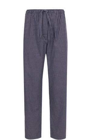 Хлопковые домашние брюки свободного кроя Derek Rose. Цвет: темно-синий