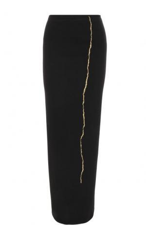 Шерстяная юбка-карандаш с контрастной вышивкой Haider Ackermann. Цвет: черный