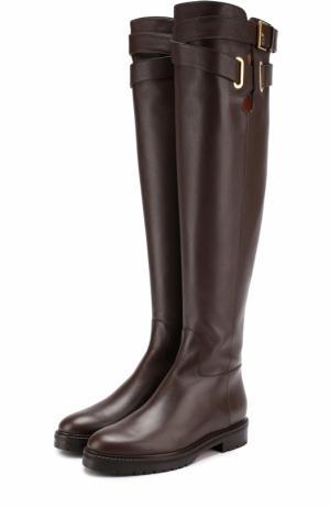 Кожаные ботфорты Bowrap с ремешками Valentino. Цвет: темно-коричневый