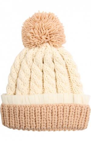 Шерстяная шапка крупной вязки 7II. Цвет: бежевый