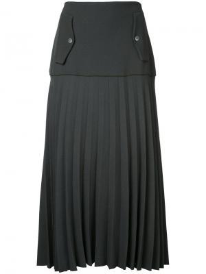 Плиссированная юбка карго Linear Dion Lee. Цвет: зелёный