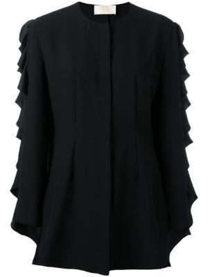 Блузка с длинными рукавами рюшами Sara Battaglia. Цвет: чёрный